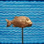 Q0127- Acqua - 2005 - 50x60 con pesce d'ro 13x30x9