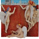 Q0349 - Marco Bonechi - anticamera del Giudizio - 2013 - Olio su tela e maioliche invetriate-  cm 80x80