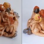 S0312- Marco Bonechi - Le sette Sirene 2014 - terracotta policroma  invetriata cm  40x40x25